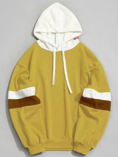 Pockets Color Block Hoodie - Mustard L