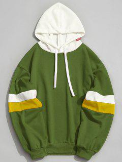 Pockets Color Block Hoodie - Green L