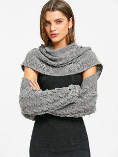 Cable Knit Convertible Sweater - Deep Gray