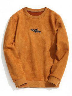 Shark Embroidered Suede Sweatshirt - Brown S