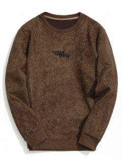 Shark Embroidered Suede Sweatshirt - Coffee S