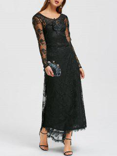 Sheer Tiny Floral Lace Dip Hem Maxi Dress - Black 2xl