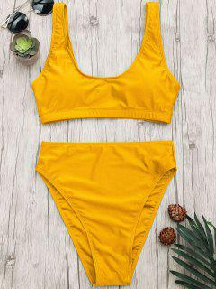 Hoch Geschnittene Scoop Bralette Bikini Set - Ingwer-gelb S