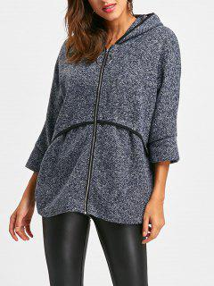 Hooded Batwing Sleeve Tunic Wool Coat - Blue