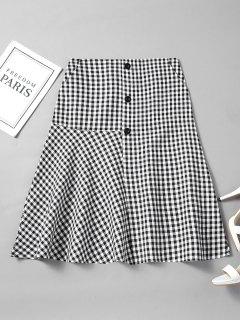 Buttoned Flounces Checked A Line Skirt - Checked L