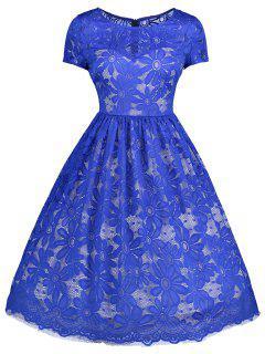 Floral Lace Vintage A Line Dress - Blue 2xl
