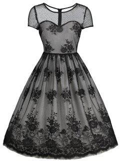 Blumenspitze Vintage Overlay Kleid - Schwarz 2xl