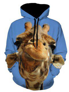 Giraffe Head Animal Printed Hoodie - Blue 3xl