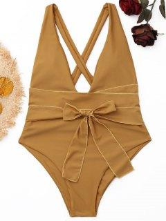 Einteiliger Badeanzug Mit Hohem Schnitt - Dunkles Khaki M