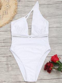 Mesh-Panel High Cut One Shoulder Badeanzug - Weiß S