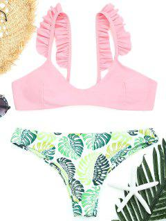 Palm Leaf Frilled Thong Bikini Set - Pink M