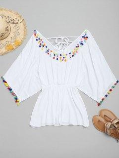 Batwing Pom-pom Cover Up Dress - White