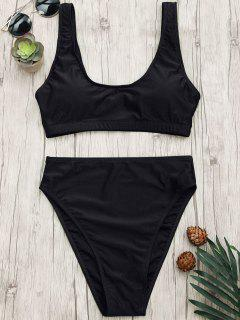 High Cut Scoop Bralette Bikini Set - Black L