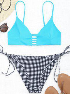 Karierter Trapez Schlitz String Bikini - Meeresblau S