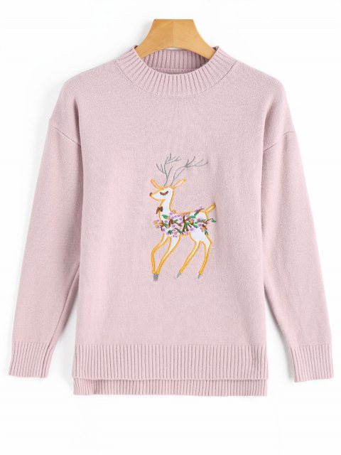 outfits Side Slit Deer Patched High Low Sweater - PINK ONE SIZE Mobile
