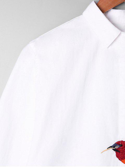 Camisa bordada túnica gráfica del pájaro - Blanco Talla única Mobile