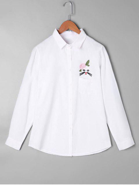 outfits Applique Patch Pocket Shirt - WHITE ONE SIZE Mobile