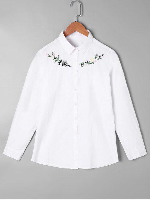 Camisa de bordado con botones - Blanco Única Talla Mobile
