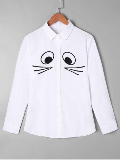 latest Cartoon Monochrome Shirt - WHITE ONE SIZE Mobile