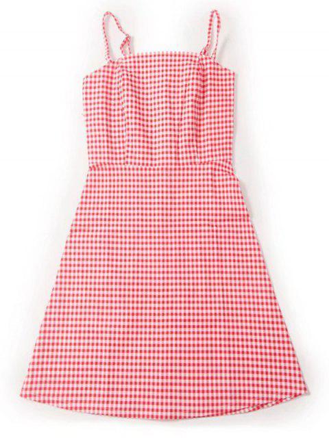 Mini Robe Lisse à Carreaux Zippée Derrière - Rouge et Blanc M Mobile
