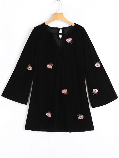 Blumen Geflickt Flare Ärmel Schlüsselloch Kleid - Schwarz L Mobile