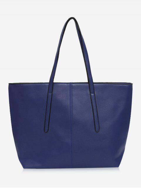 Costura de la bolsa de asas con cremallera de cuero de imitación - Azul  Mobile