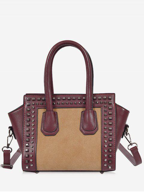 sale Faux Leather Color Block Studs Handbag -   Mobile