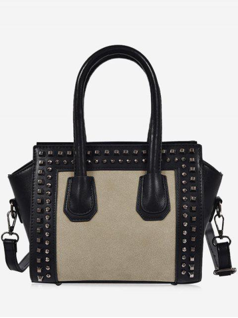 womens Faux Leather Color Block Studs Handbag - GRAY  Mobile