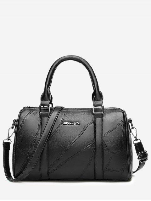 best Letter Stitching Faux Leather Handbag - BLACK  Mobile