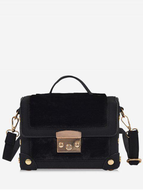 fashion Studs PU Leather Splicing Crossbody Bag - BLACK  Mobile