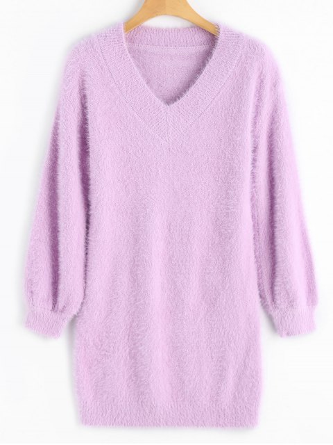 Jersey de mohair con cuello en V y cuello alto - púrpura rosácea Única Talla Mobile