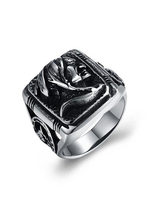 outfits Human Pattern Carved Titanium Steel Biker Ring - SILVER 12 Mobile