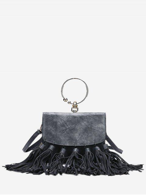 Runder Ring Quasten PU Leder Handtasche - Grau  Mobile