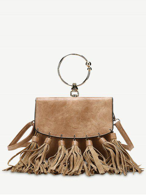 sale Round Ring Tassels PU Leather Handbag - BROWN  Mobile