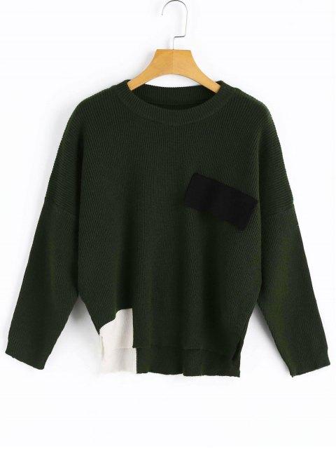 Suéter con bajo contraste y aberturas laterales - Verde negruzco Única Talla Mobile