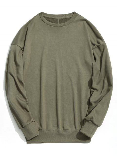 Sweat-shirt Simple à Épaules Tombantes - Vert Armée S Mobile