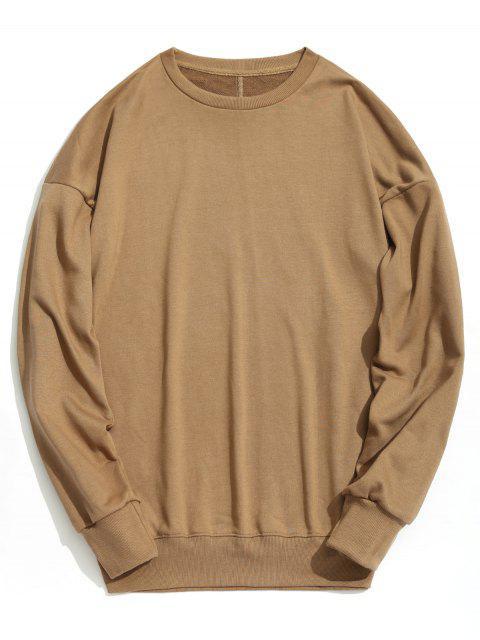Sweat-shirt Simple à Épaules Tombantes - Kaki S Mobile