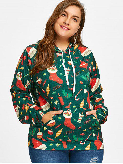 latest Kangaroo Pocket Christmas Plus Size Hoodie - GREEN 3XL Mobile