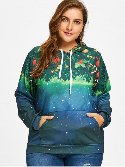 Sudadera con capucha Galaxy Plus Size Christmas - GREEN 5XL Mobile