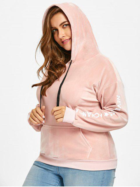 shop Letter Plus Size Velvet Hoodie - PINK 4XL Mobile