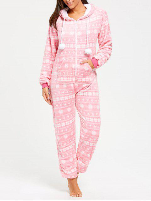 Fleece Hooded Zip Jumpsuit Ropa de dormir - Rosa XL Mobile