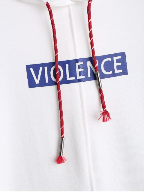 women Violence Graphic Oversized Hoodie - WHITE ONE SIZE Mobile