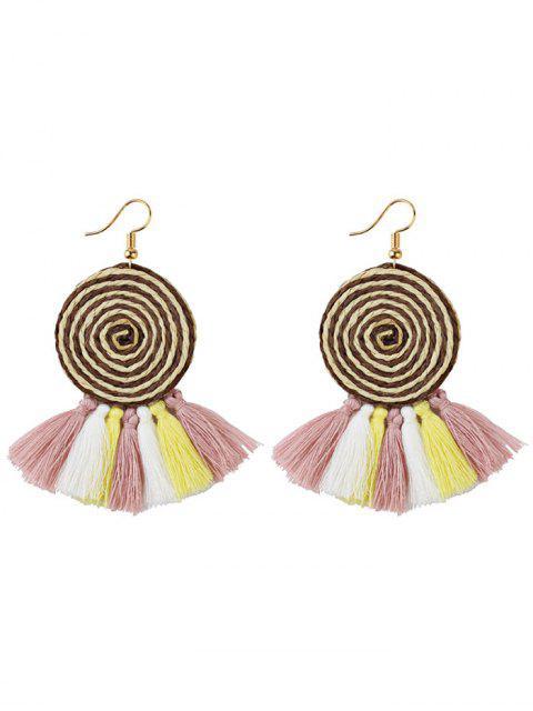 Boucles d'oreilles crochet à pompons - Brun  Mobile