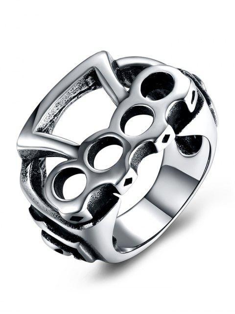 Geometrischer Muster-Titanstahl-rollender Radfahrer-Ring - Silber 9 Mobile