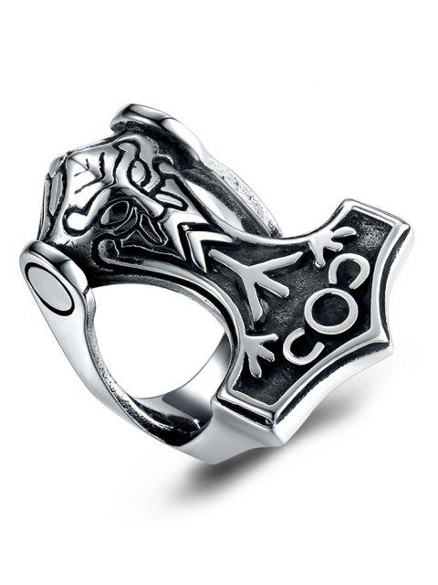 sale Gothic Style Symbols Carving Stainless Steel Biker Ring - SILVER 9 Mobile