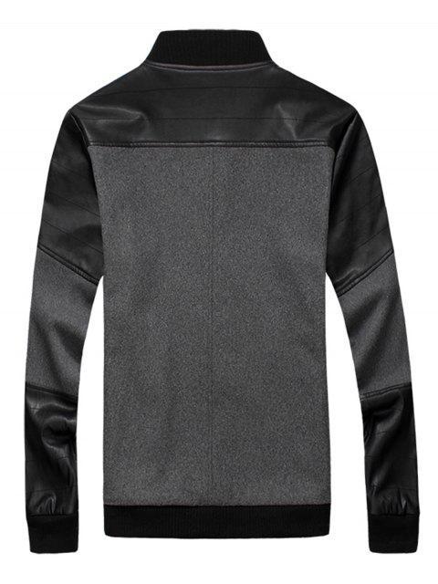 buy Slim Snap Button Wool Blend Jacket - GRAY 5XL Mobile