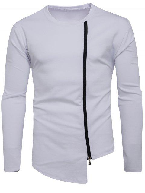 Crew Neck Oblique Zip Up Asimétrica Camiseta - Blanco 2XL Mobile