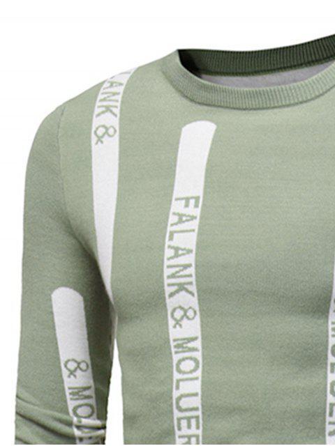 unique Crew Neck Graphic Print Ribbed Pullover Sweater - TEA-COLORED L Mobile