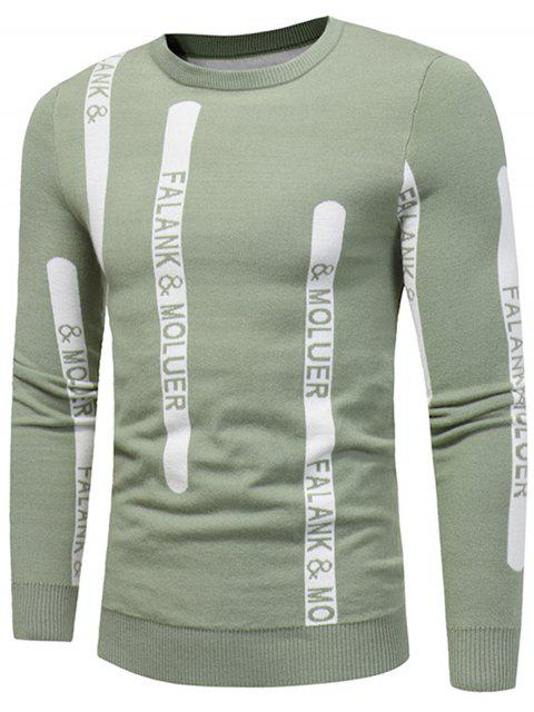 unique Crew Neck Graphic Print Ribbed Pullover Sweater - TEA-COLORED L Mobile