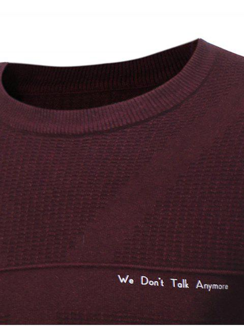 best Crew Neck Jacquard Graphic Print Pullover Sweater - WINE RED L Mobile